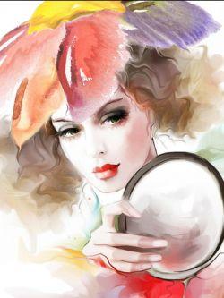 Арт.25623 Татьяна Никитина. Девушка с зеркалом