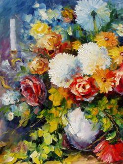 Арт.30702 Леонид Афремов. Ваза с цветами
